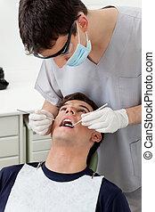 traktowanie, dentysta, pacjent
