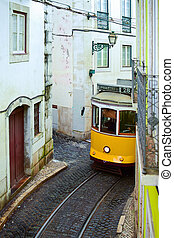 Tram 28 on the street in Lisbon, Postugal