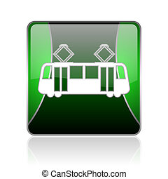 tram black and green square web glossy icon