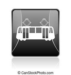 tram black square web glossy icon