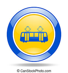 tram blue and yellow web glossy round icon