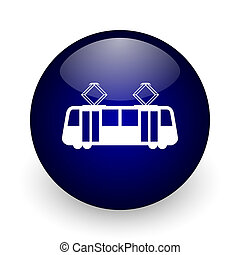 Tram blue glossy ball web icon on white background. Round 3d render button.