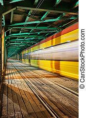 tram, brug, abstract, spoor, licht