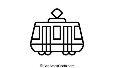 Tram car icon animation outline best object on white background