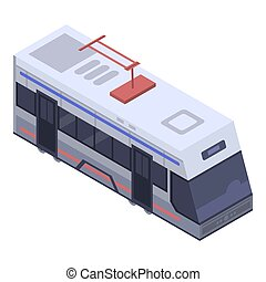 Tram car icon, isometric style