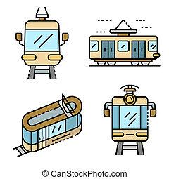 Tram car icons set line color