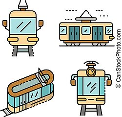 Tram car icons set line color vector - Tram car icons set. ...