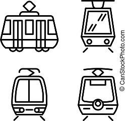 Tram car icons set, outline style - Tram car icons set. ...
