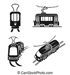 Tram car icons set, simple style