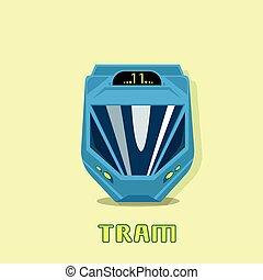 tram, città, moderno, trasporto pubblico