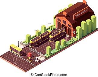 tram, costruzione, isometrico, vettore, deposito