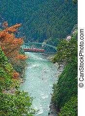 Tram crossing a bridge in a valley - Tram crossing a bridge...