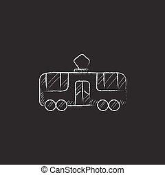 Tram. Drawn in chalk icon.