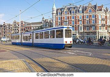 Tram driving in Amsterdam the Netherlands