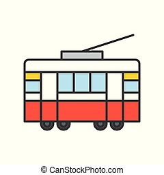 Tram filled outline icon isolated on white