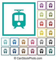 Tram flat color icons with quadrant frames on white ...