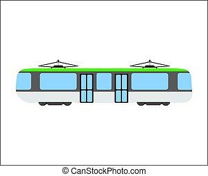 Tram flat icon and logo. Cartoon Vector illustration