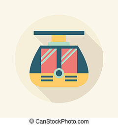 tram flat icon with long shadow