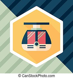 tram flat icon with long shadow,eps10