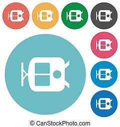 Tram flat round icons