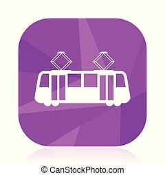 Tram flat vector icon. Tramway violet web button. Train...