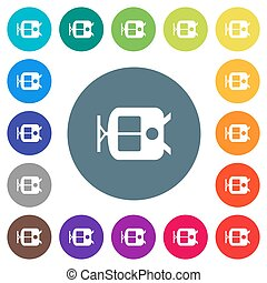 Tram flat white icons on round color backgrounds. 17 ...