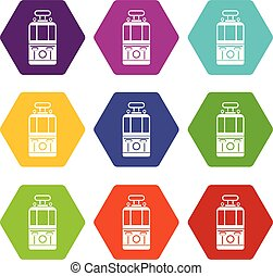 Tram front view icon set color hexahedron