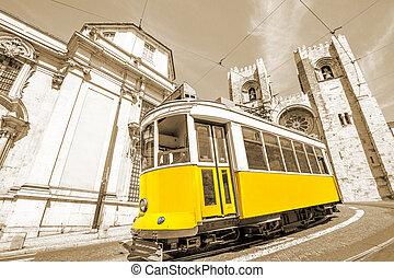 tram, gele, lissabon