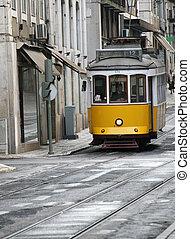 tram, gele