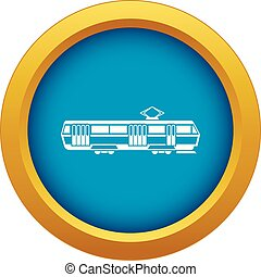Tram icon blue vector isolated