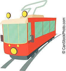 Tram icon, cartoon style