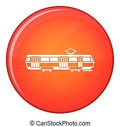 Tram icon, flat style