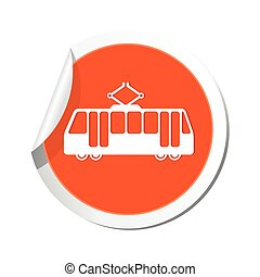 tram, icon., illustratie, vector