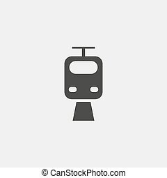 Tram Icon in a flat design in black color. Vector illustration eps10