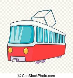 Tram icon in cartoon style
