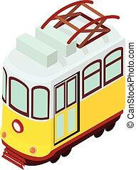 Tram icon, isometric style