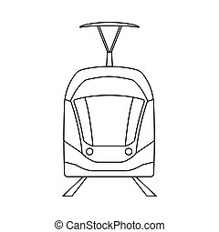 Tram Icon. Outline Simple Design. Vector Illustration.