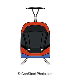 Tram Icon. Outline With Color Fill Design. Vector...