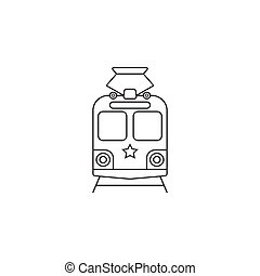 tram icon, public transport symbol vector graphics