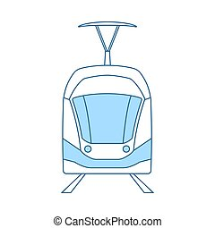 Tram Icon. Thin Line With Blue Fill Design. Vector...