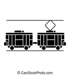 tram icon, vector illustration, black sign on isolated background