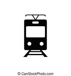 tram, icona, -, vettore, segno