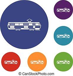 Tram icons set