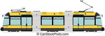 Tram - Modern tram. Vector without gradients on one layer.