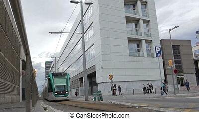 Tram in Barcelona - BARCELONA - MAY 26, 2012: Tram is...