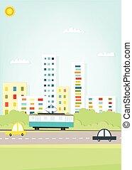 tram, in de stad