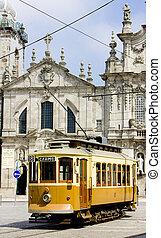 tram in front of Carmo Church (Igreja do Carmo), Porto,...