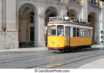 tram, in, lissabon, portugal
