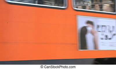 Tram in Milan - View of tram and cars in Milan, Italy