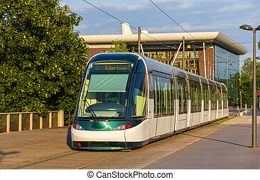 Tram in the European district of Strasbourg - Alsace, France